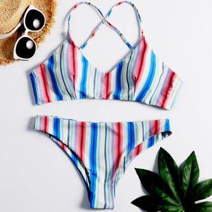 nuevo bikini de rayas bikini imprimir damas dividir triángulo traje de baño al por mayor nihaojewelry NHHL225966's discount tags