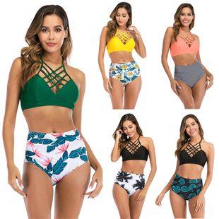 Nuevo traje de baño venta caliente dividida bikini de cintura alta traje de baño correas cruzadas al por mayor nihaojewelry NHHL225994's discount tags