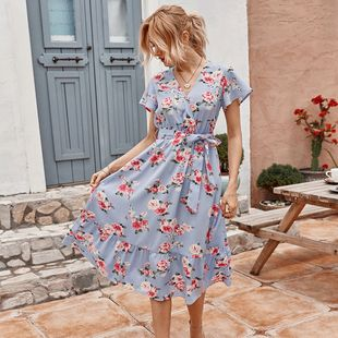 women's summer new printed dress wholesale nihaojewelry NHKA226141's discount tags