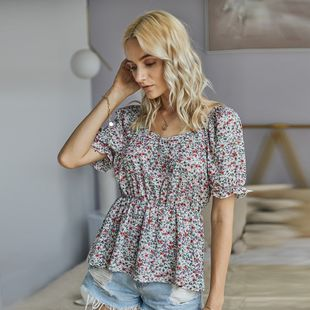 summer women's new real shot floral shirt short-sleeved V-neck sexy shirt wholesale nihaojewelry NHKA226143's discount tags