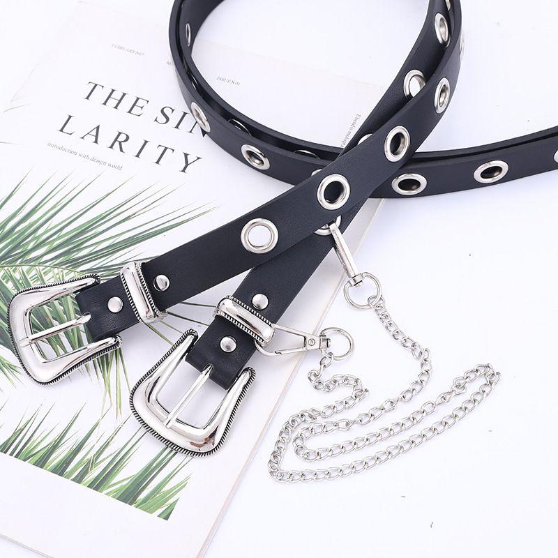 explosions stalls supply belt air-eye decoration ladies fashion chain belt punk style belt women wholesale nihaojewelry NHPO226177