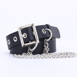 Korean new black belt decoration chain inlaid puffy casual pants belt buckle shape belt wholesale nihaojewelry NHPO226178's discount tags