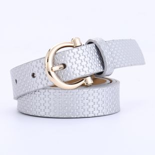 creative ladies fashion straw mat pattern belt wild PU pin buckle decorative jeans belt wholesale nihaojewelry NHPO226183's discount tags