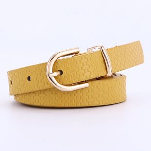 new straw mat pattern belt ladies fashion gold buckle decorative dress with pin buckle belt wholesale nihaojewelry NHPO226184's discount tags