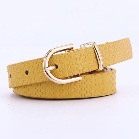 Nuevo cinturón de patrón de estera de paja para mujer vestido decorativo de hebilla dorada con cinturón de hebilla al por mayor nihaojewelry NHPO226184's discount tags