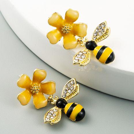 fashion bee flower earrings alloy drop oil set rhinestone S925 silver needle hypoallergenic earrings wholesale nihaojewelry NHLN226188's discount tags