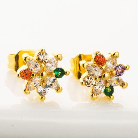 Korean flower earrings copper inlaid color zircon earrings wild rainbow earrings wholesale nihaojewelry NHLN226194's discount tags