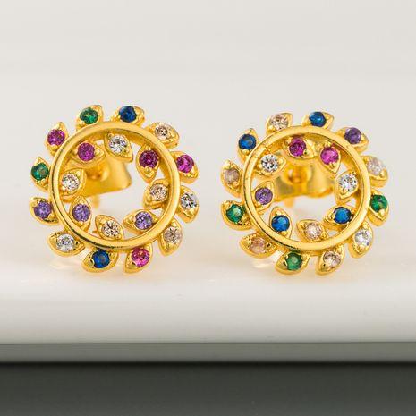 fashion new hollow sun flower earrings copper inlaid color zircon earrings hypoallergenic earrings wholesale nihaojewelry NHLN226210's discount tags