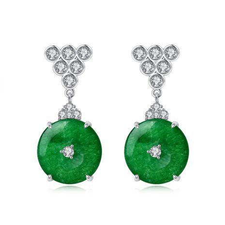 fashion Korean earrings dress accessories green chalcedony copper earring wholesale nihaojewelry NHTM226231's discount tags