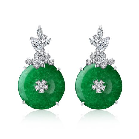 fashion green chalcedony banquet ladies copper inlaid zirconium earrings wholesale nihaojewelry NHTM226241's discount tags
