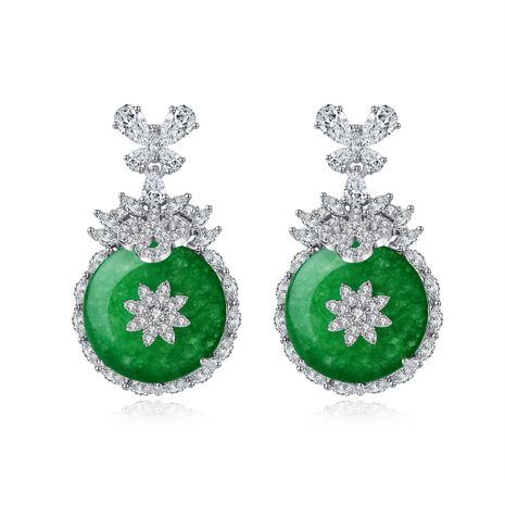 new green chalcedony copper inlaid zirconium banquet earrings wholesale nihaojewelry NHTM226244's discount tags