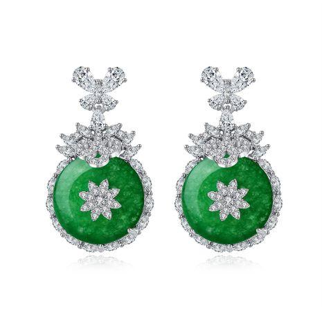 nouveau vert calcédoine cuivre incrusté de zirconium boucles d'oreilles de banquet en gros nihaojewelry NHTM226244's discount tags