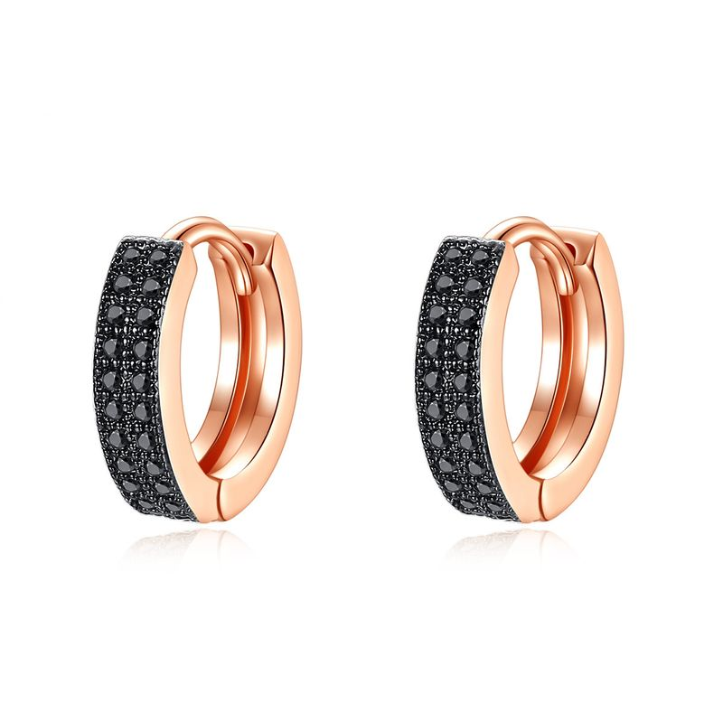 fashion simple and small double-row copper inlaid zirconium earrings wholesale nihaojewelry NHTM226245