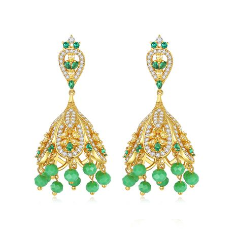 new Retro Palace Style Ethnic Earrings style Tassel Copper Inlaid Zirconium Earrings wholesale nihaojewelry NHTM226249's discount tags