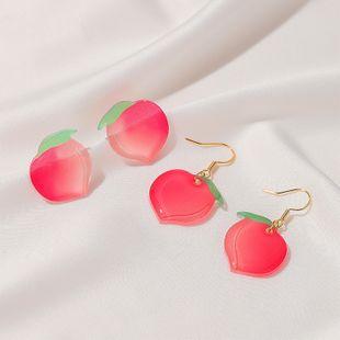summer new products sweet peach earrings acrylic peach earrings girl earrings wholesale nihaojewelry NHDP226257's discount tags
