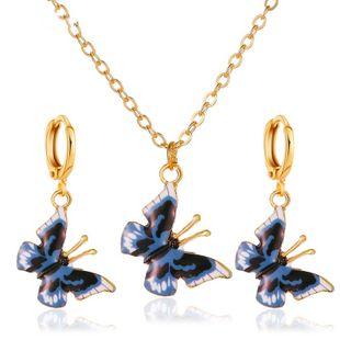 joyería colorida del traje de la mariposa collar de la mariposa del sueño joyería de dos piezas al por mayor nihaojewelry NHDP226265's discount tags