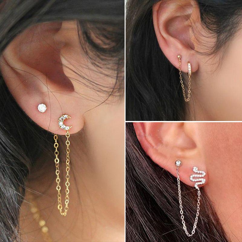 long earrings geometric U-shaped ear clip earrings integrated moon snake earrings wholesale nihaojewelry NHDP226268