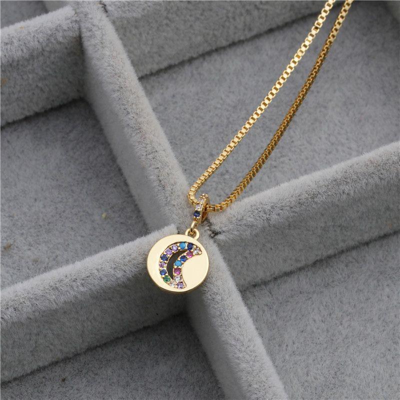 new hot sale microset zircon color zirconium butterfly ring round handle pendant necklace wholesale nihaojewelry NHYL226459