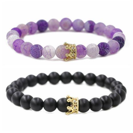 hot sale matte weathered stone micro-set zircon crown couple bracelet wholesale nihaojewelry  NHYL226463's discount tags