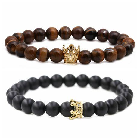 dumb black stone tiger's eye volcanic stone micro zirconium crown couple bracelet beaded DIY Bracelet wholesale nihaojewelry NHYL226469's discount tags