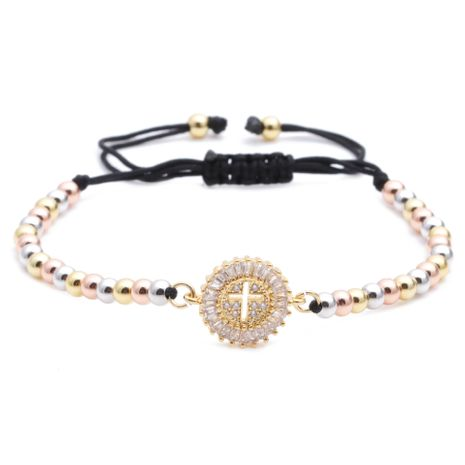 copper beads mixed color chain cross love demon eye adjustable bracelet wholesale nihaojewelry NHYL226484's discount tags