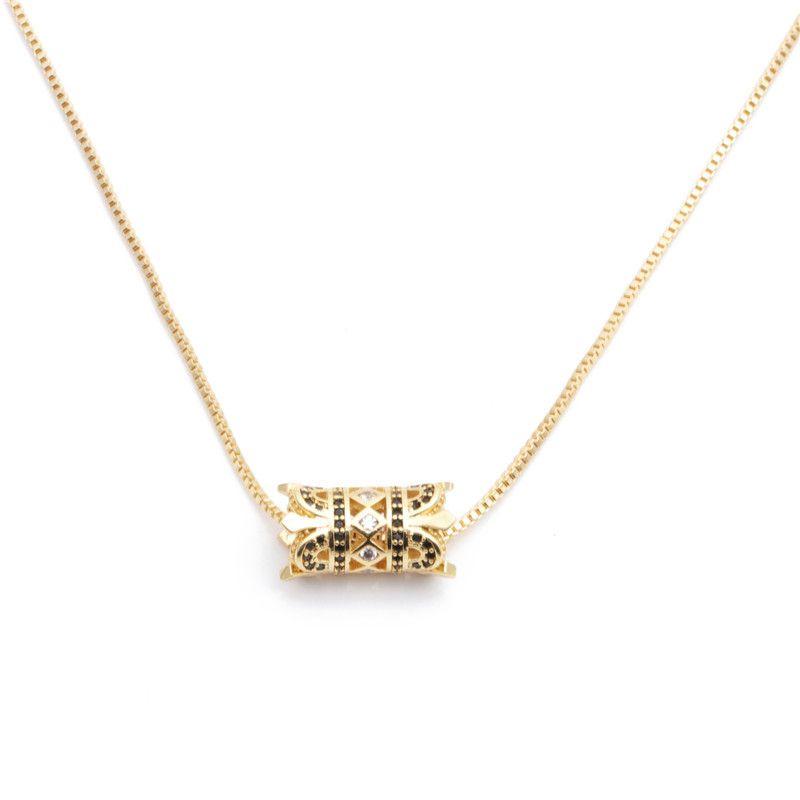 micro-set zircon wild waist cylindrical diamond ladies necklace Copper wholesale nihaojewelry NHYL226517