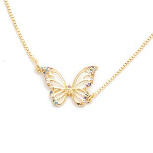 Micro-set zircon mariposa valientes cachorros murciélago colgante collar de cobre al por mayor nihaojewelry NHYL226522's discount tags