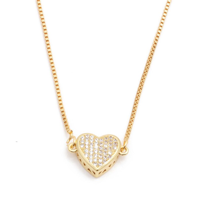 hot sale copper necklace micro-set zircon peach heart love necklace Copper wholesale nihaojewelry NHYL226527