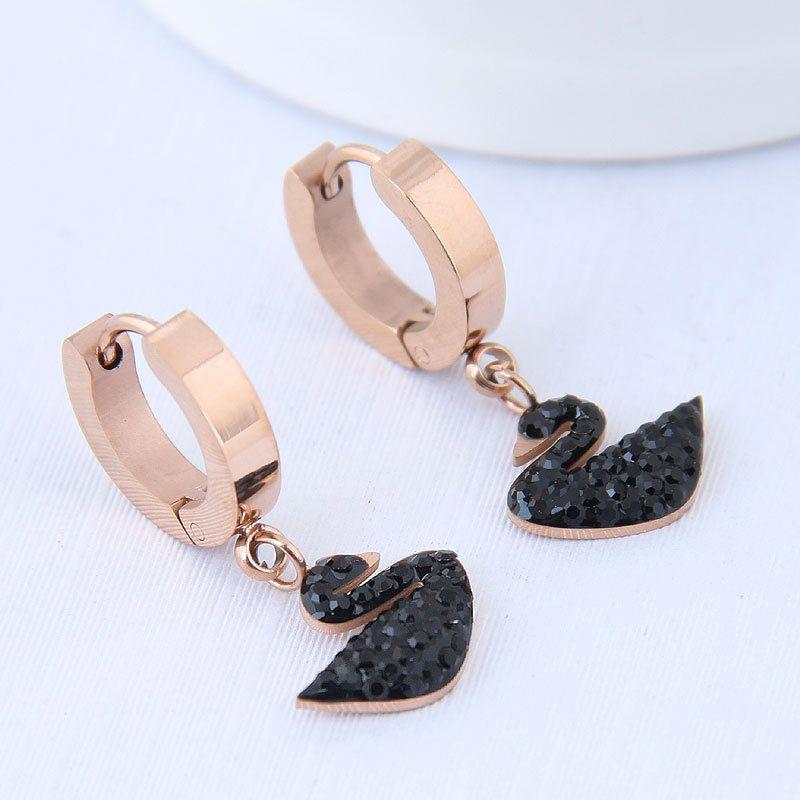 Titanium steel earrings Korean simple rose gold earrings black swan earrings hypoallergenic wholesale nihaojewelry  NHIM226539