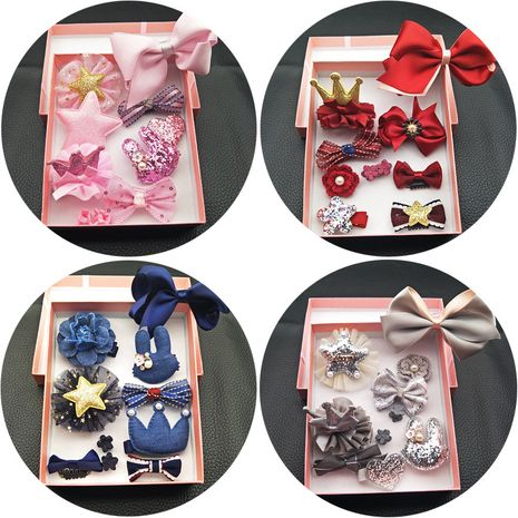 New Korean children's headdress hair accessories retro side clip crown all-inclusive hair clip hairpin jewelry set gift set NHSA226583's discount tags