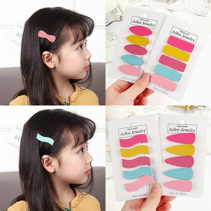 New children's Korean polished yarn macaron cream geometric love bow hair clip clip bangs clip NHSA226591