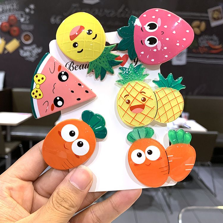 New childrens fruit hairpin Korean cute color radish side clip girl baby duck clip hairpin headdress NHSA226592