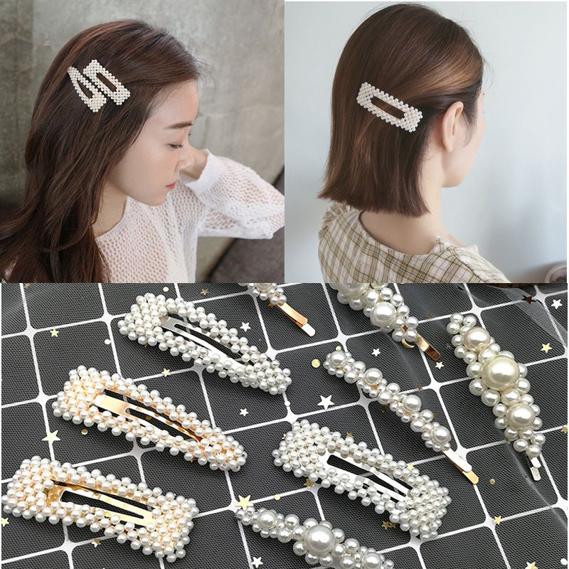 retro french hairpin romantic pearl duckbill clip pearl girl side clip headdress wholesale nihaojewelry NHSA226599