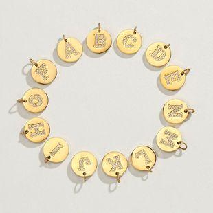 DIY jewelry 316L titanium steel diamond 14K gold plated 26 English alphabet accessories wholesale nihaojewelry  NHTF226602's discount tags