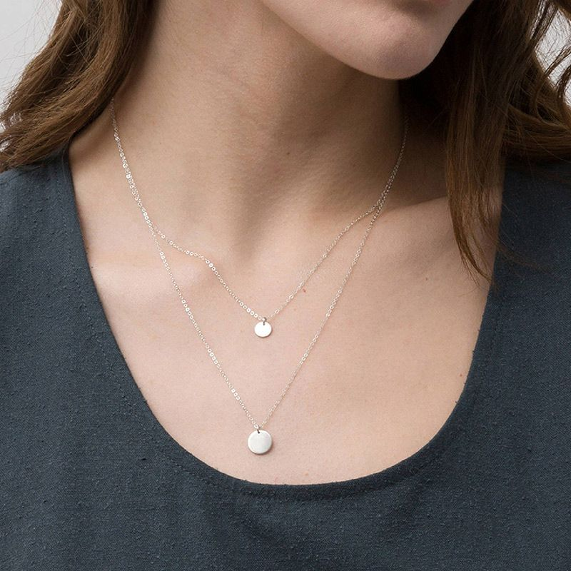 316L new necklace simple double stainless steel necklace geometric round pendant clavicle chain wholesale nihaojewelry NHTF226610