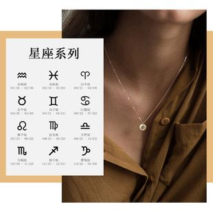 Hot sale 316L stainless steel lettering constellation pendant geometric round necklace rose gold clavicle chain wholesale nihaojewelry NHTF226620's discount tags