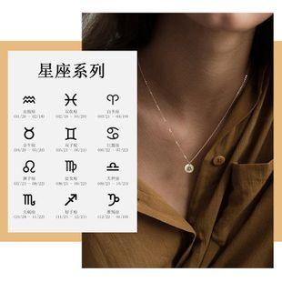 Vente chaude en acier inoxydable 316L lettrage constellation pendentif géométrique collier rond or rose chaîne de clavicule en gros nihaojewelry NHTF226620's discount tags