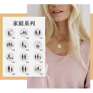 Venta caliente collar de acero titanio 316L collar redondo letras geométricas cadena de clavícula 15 MM colgante al por mayor nihaojewelry NHTF226625's discount tags