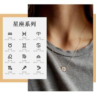 geometric glossy necklace 316L stainless steel lettering constellation pendant 9MM jewelry wholesale nihaojewelry NHTF226627's discount tags
