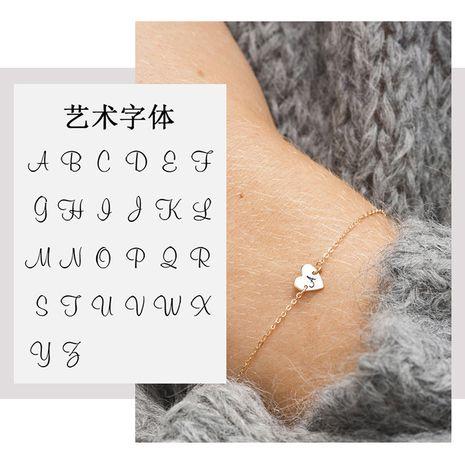 Joyería grabable al por mayor de acero de titanio pulsera en forma de corazón distribución de oro rosa al por mayor nihaojewelry NHTF226628's discount tags