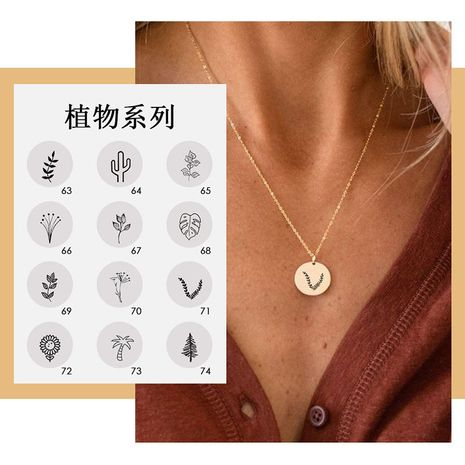 accessories necklace simple round glossy pendant 316L stainless steel lettering plant necklace wholesale nihaojewelry NHTF226631's discount tags