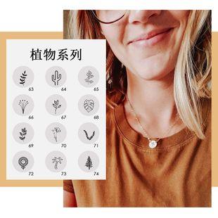 nouveau collier en acier au titane lettrage plante collier pendentif dames collier en gros nihaojewelry NHTF226635's discount tags