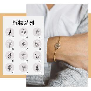fashion jewelry trend creative titanium steel ladies bracelet popular lettering plant bracelet wholesale nihaojewelry NHTF226637's discount tags