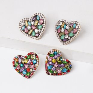 exaggerated color diamond earrings personality heart-shaped crystal earrings wholesale nihaojewelry NHJJ226643's discount tags