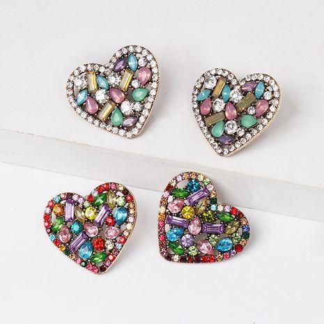 exagéré couleur diamant boucles d'oreilles personnalité en forme de coeur cristal boucles d'oreilles en gros nihaojewelry NHJJ226643's discount tags