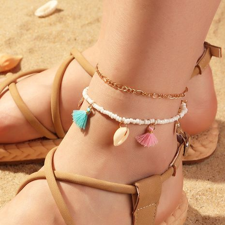 fashion jewelry boho color fringed footwear beach shell anklet wholesale nihaojewelry NHNZ226646's discount tags