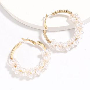 Moda simple aleación diamante acrílico perla con cuentas tejidas S925 plata pendientes al por mayor nihaojewelry NHJE226647's discount tags