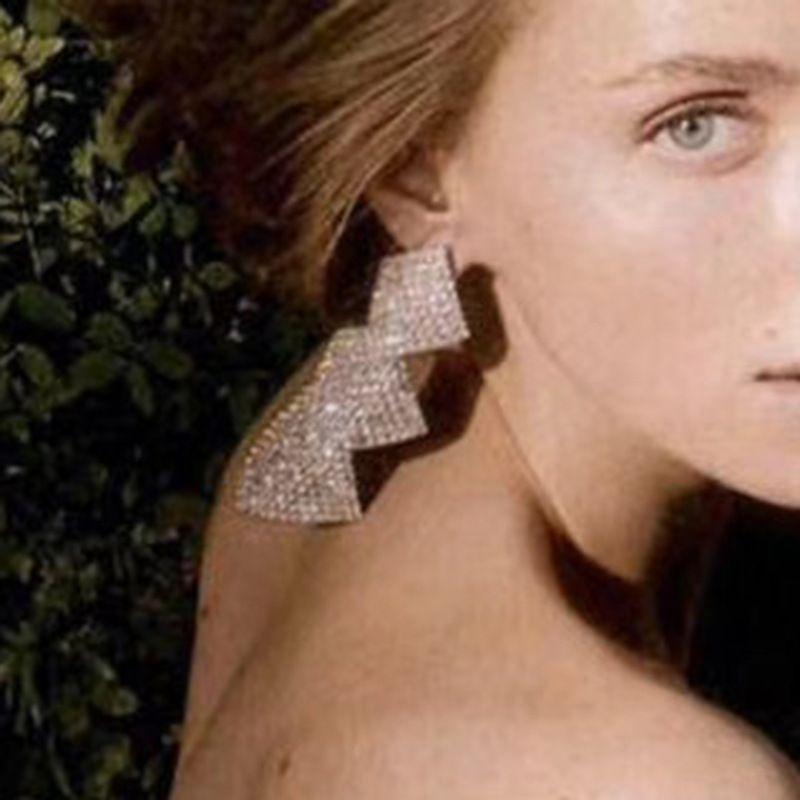 exaggerated multi-layer curly square alloy diamond-set rhinestone retro generous earrings wholesale nihaojewelry NHJE226648