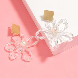 simple acrylic imitation pearl woven flower earrings trend earrings wholesale nihaojewelry NHJE226649's discount tags