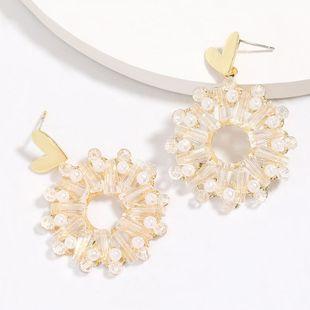 Amor corazón aleación ronda acrílico diamante perla S925 plata pendiente de la aguja al por mayor nihaojewelry NHJE226650's discount tags
